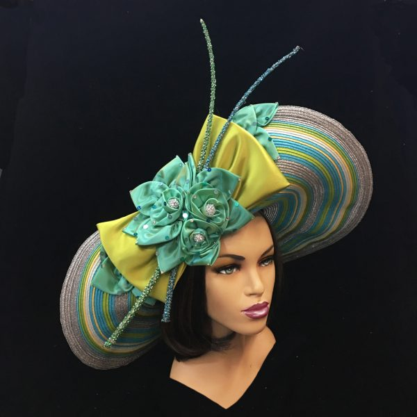 2252 Electra-WC ( Striped Deaville Brim Hat With Florettes And Jewel Quills )