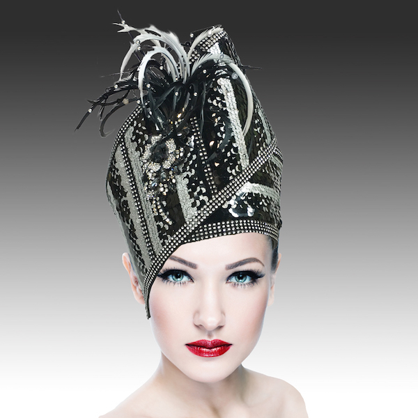Agra Redux 1573X-SB ( Embellished Hand Crafted Pill Box Hat With Luxurious Embroidery, Beadwork And Hand Decorated Plumes )