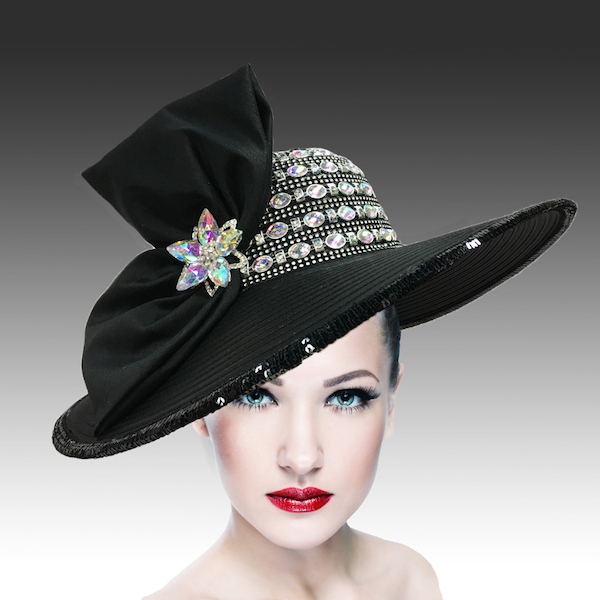 2301 Pilar-BK ( Jewel Crown Wide Brim Hat With Profile Bow )