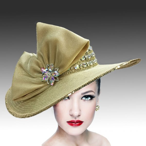 2301 Pilar-GO ( Jewel Crown Wide Brim Hat With Profile Bow )