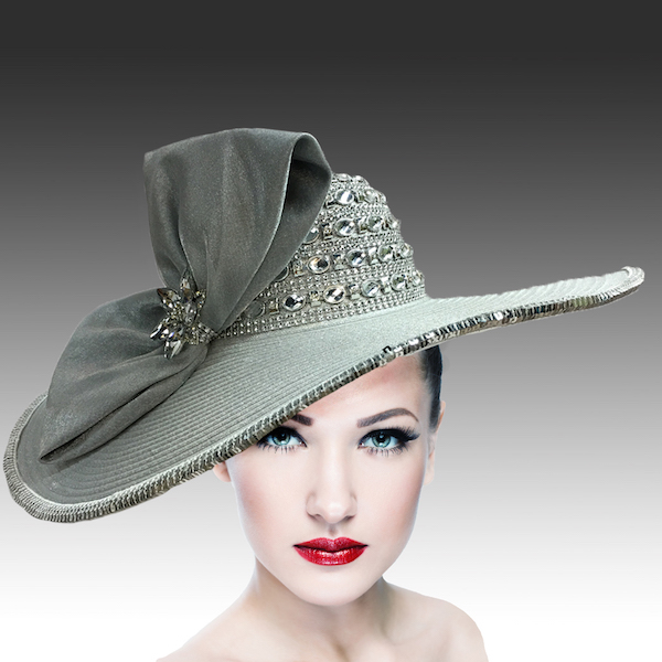 2301 Pilar-SI ( Jewel Crown Wide Brim Hat With Profile Bow )