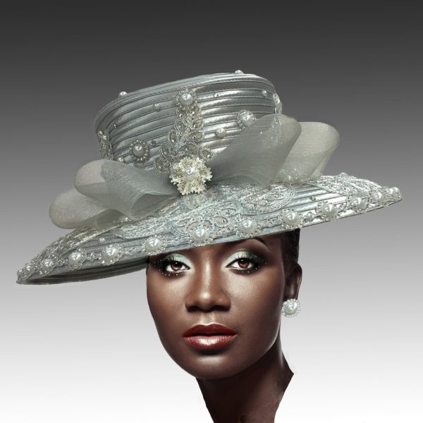 2302 Verailles-SI ( Lace And Pearl Adorned Cafe Brim Hat )