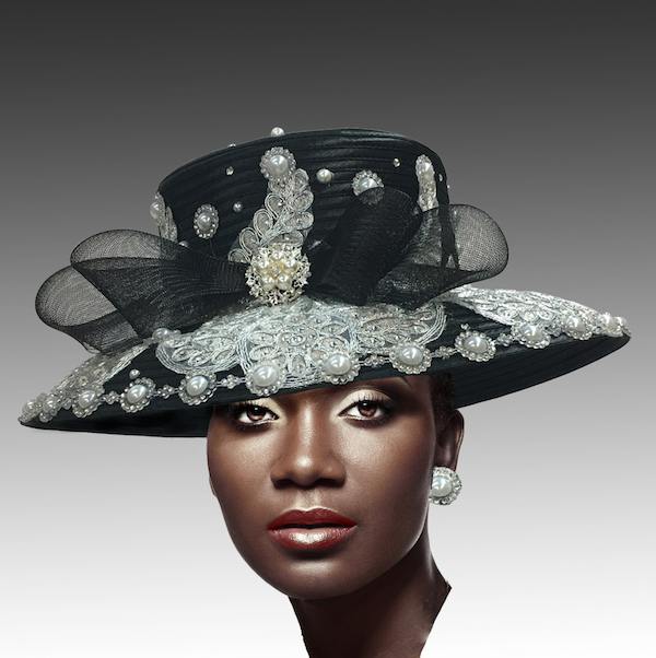 2302 Verailles-Black ( Lace And Pearl Adorned Cafe Brim Hat )