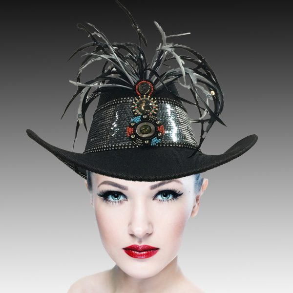 SC2312 Rodeo-BK ( Sequin And Feather Outback Hat )