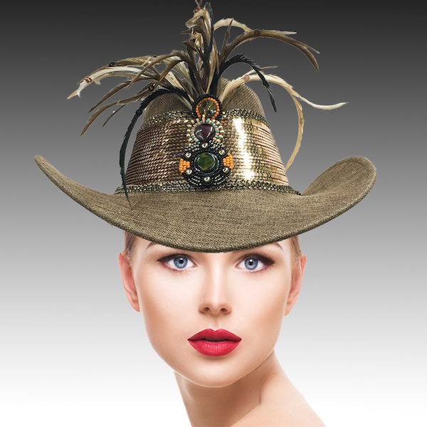 SC2312 Rodeo-BR ( Sequin And Feather Outback Hat )