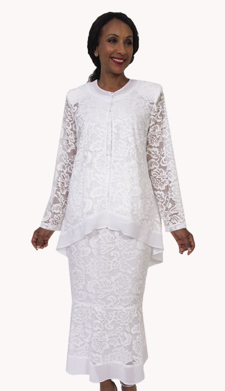 HD Couture 5199-WH ( 2Pc Fully Lined Georgette Suit With Lace Top And Skirt )