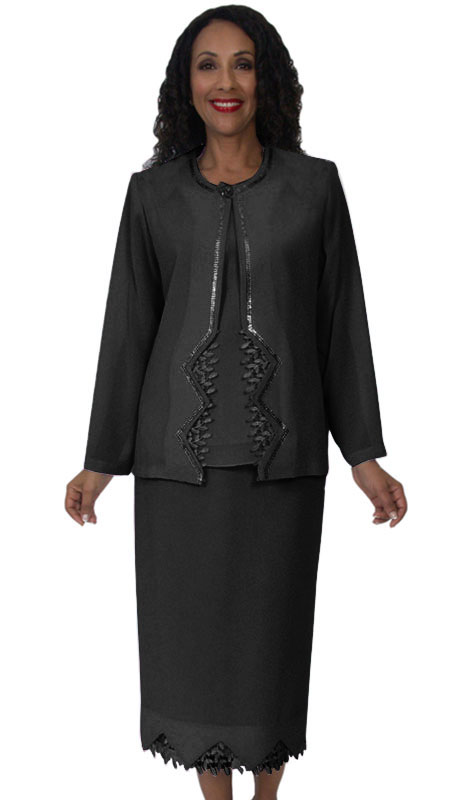 HD Couture 5141-BL ( 3Pc Fully Lined Georgette Suit With Embellished Jacket And Elastic Waistband )