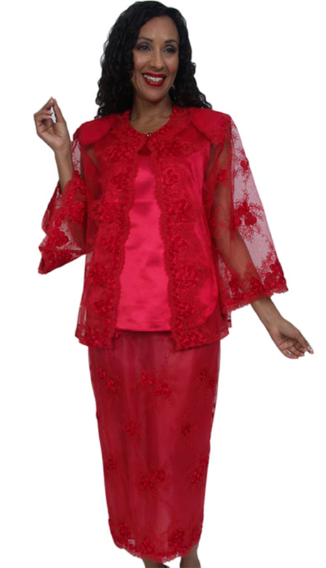 HD Couture 5026 ( 3pc Fully Lined Embroidered Georgette First Lady Church Suit With Elastic Waistband )
