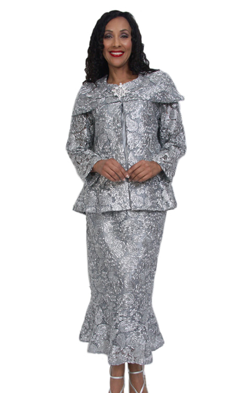 HD Couture 5006 ( 3pc Fully Lined Lace Women Sunday Church Suit With Elastic Waistband )