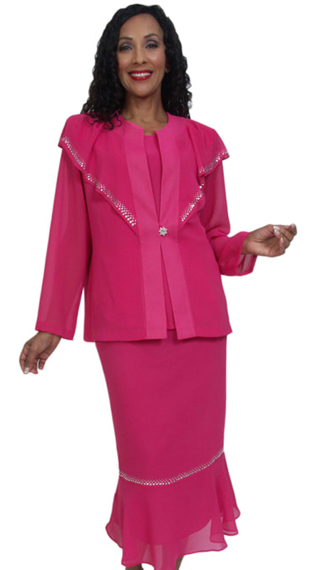 HD Couture 5034-F ( 3pc Fully Lined Georgette Church Suit With Embellished Jacket With Elastic Waistband )
