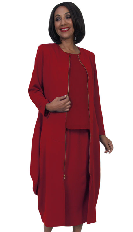 HD Couture 5273-RE ( 3Pc Fully Lined Scuba Knit Suit With Duster Jacket )