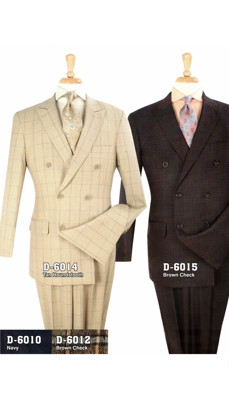 Iconic D-6014 ( Wool Double Breasted Suit With Semi Wide Leg Pants, Super 150's )