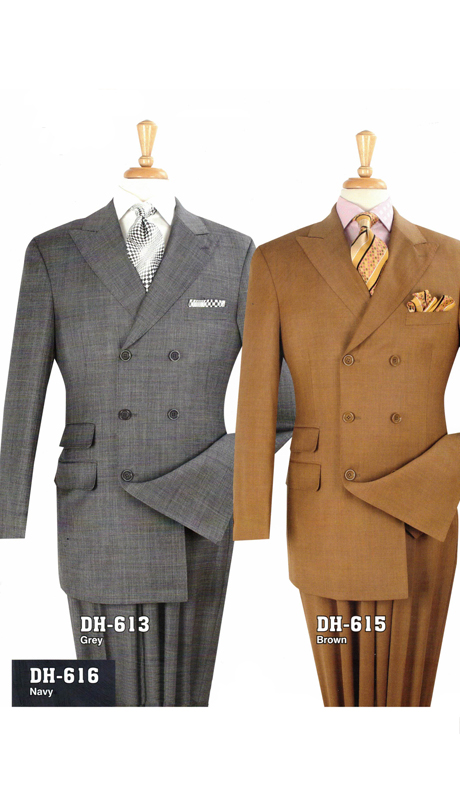 Iconic DH-613 ( 3pc Wool High Fashion Double Breasted Suit With Vest And Pleated Pants, Super 150's )
