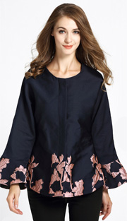 Jerry T 7181-PK ( 1pc Ladies Tunic Blouse With Floral Pattern Brocade )
