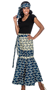 Giovanna P1013-N-228 ( 1pc Womens Skirt With Unique Print, Elastic Waist, Comes With Free Matching Headband )