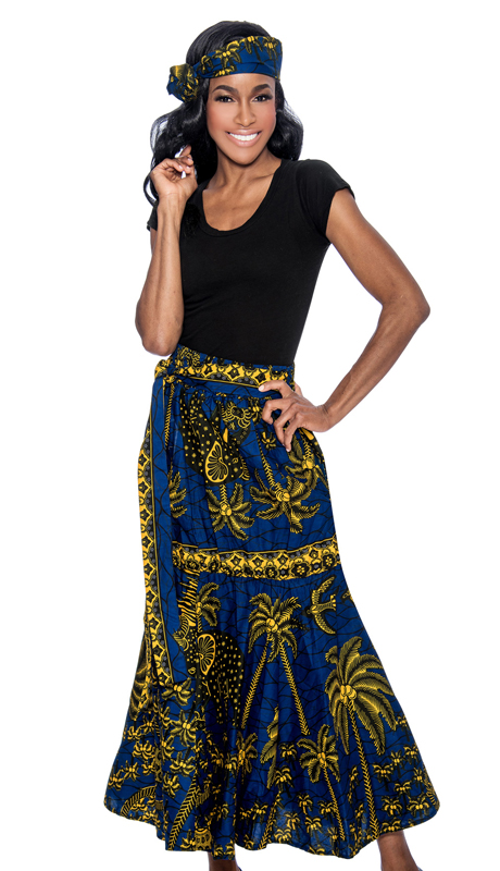 Giovanna P1013-NG-228 ( 1pc Womens Skirt With Unique Print, Elastic Waist, Comes With Free Matching Headband )