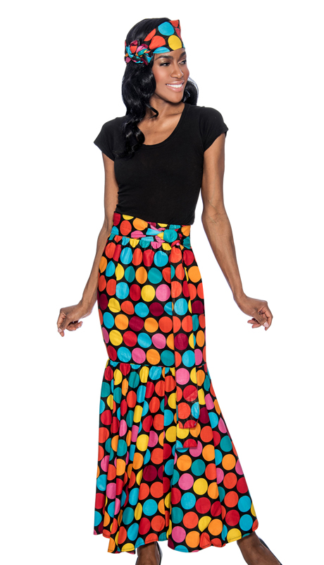 Giovanna P1013-R-228 ( 1pc Womens Skirt With Polka Dot Print, Elastic Waist, Comes With Free Matching Headband )