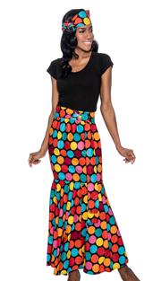 Giovanna P1013-R-228 ( 1pc Womens Skirt With Polka Dot Print, Elastic Waist, Comes With Free Matching Headband )