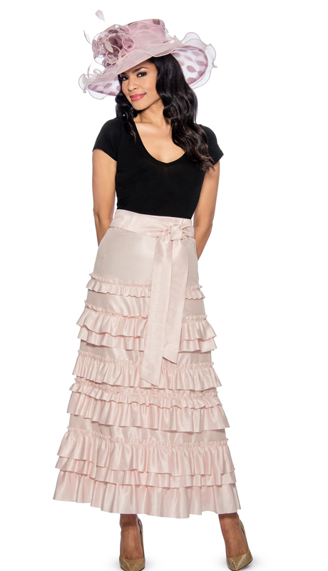Giovanna P1011-315 ( 1pc Womens Skirt With Ruffle Layered Design, Elastic Waist )
