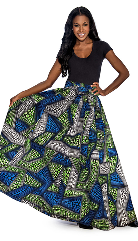 Giovanna 1012-GS ( 1pc Womens Skirt With Wax Print, Elastic Waist, Comes With Free Matching Headband )