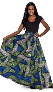 Giovanna 1012-GS ( 1pc Womens Skirt With Wax Print, Elastic Waist, <b>Comes With Free Matching Headband</b> )