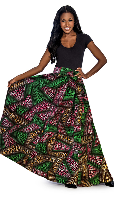 Giovanna 1012-PG ( 1pc Womens Skirt With Wax Print, Elastic Waist, Comes With Free Matching Headband )