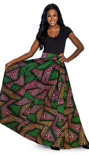Giovanna 1012-PG ( 1pc Womens Skirt With Wax Print, Elastic Waist, <b>Comes With Free Matching Headband</b> )
