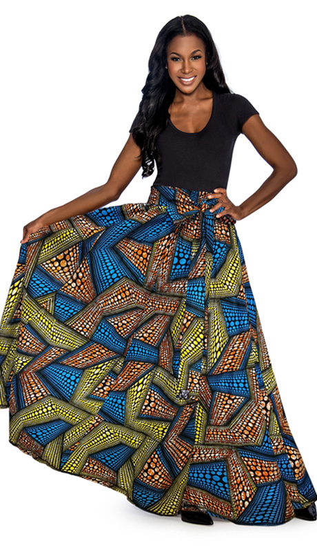Giovanna 1012-TY ( 1pc Womens Skirt With Wax Print, Elastic Waist, Comes With Free Matching Headband )