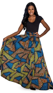 Giovanna 1012-TY ( 1pc Womens Skirt With Wax Print, Elastic Waist, <b>Comes With Free Matching Headband</b> )