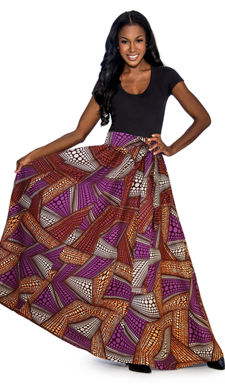 Giovanna 1012-PS ( 1pc Womens Skirt With Wax Print, Elastic Waist, Comes With Free Matching Headband )