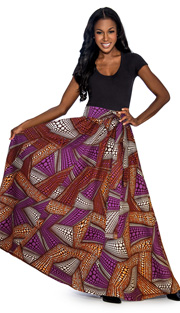 Giovanna 1012-PS ( 1pc Womens Skirt With Wax Print, Elastic Waist, <b>Comes With Free Matching Headband</b> )