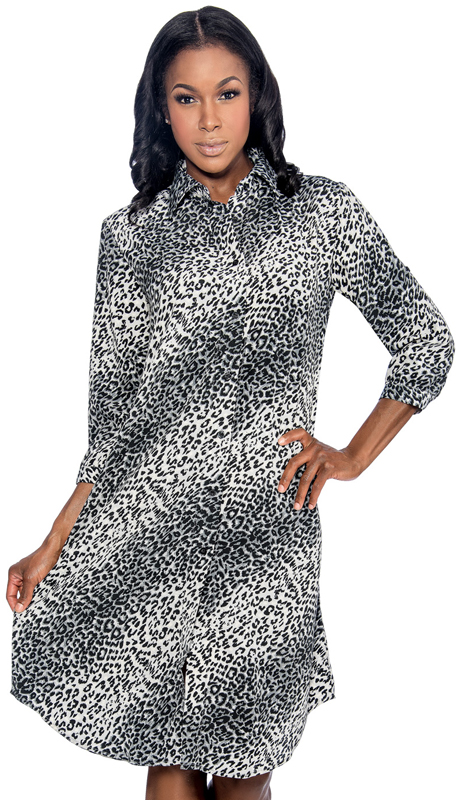 Giovanna D1506-LEO ( 1pc Ladies Dress With Button Front And Animal Print )