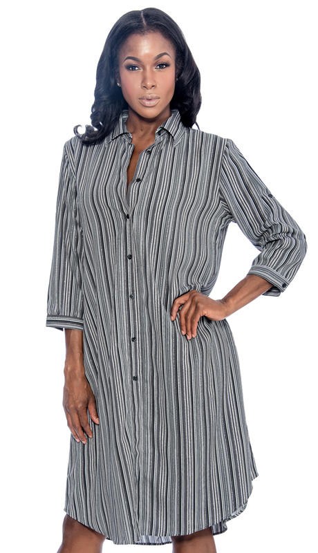 Giovanna D1506-GR ( 1pc Ladies Dress With Button Front And Stripe Pattern )