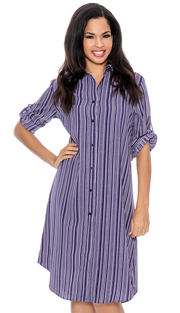 Giovanna D1506-PUR ( 1pc Ladies Dress With Button Front, Stripe Pattern And Cuff Sleeve )
