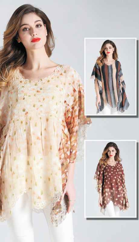 Jerry T SR 7191-C ( 1pc Womens Tunic Blouse With Elegant Print Pattern )