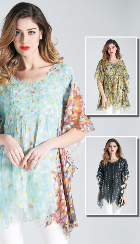 Jerry T SR 7191 ( 1pc Womens Tunic Blouse With Elegant Print Pattern )