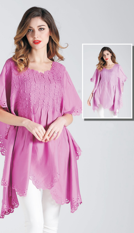 Jerry T SR 7186-F ( 1pc Womens Tunic Blouse With Doily Cut Out )
