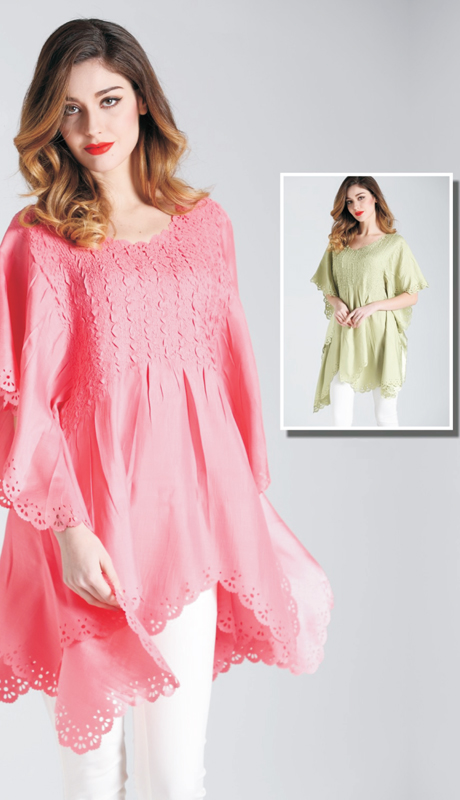 Jerry T SR 7186 ( 1pc Womens Tunic Blouse With Doily Cut Out )