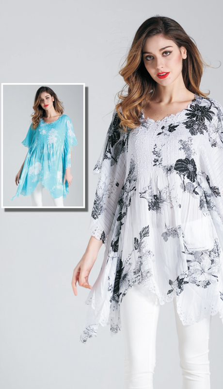 Jerry T SR 7196 ( 1pc Ladies Tunic Blouse With Modern Print Pattern )