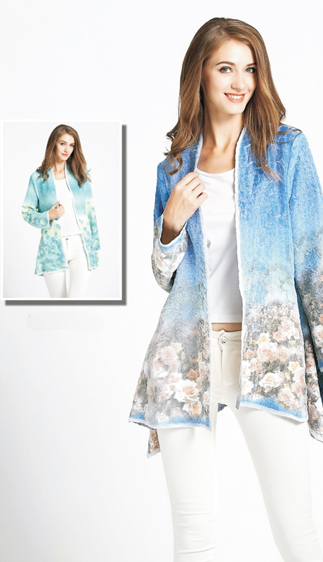 Jerry T SR 7174  ( 1pc Textured Ladies Tunic Jacket With Floral Print )