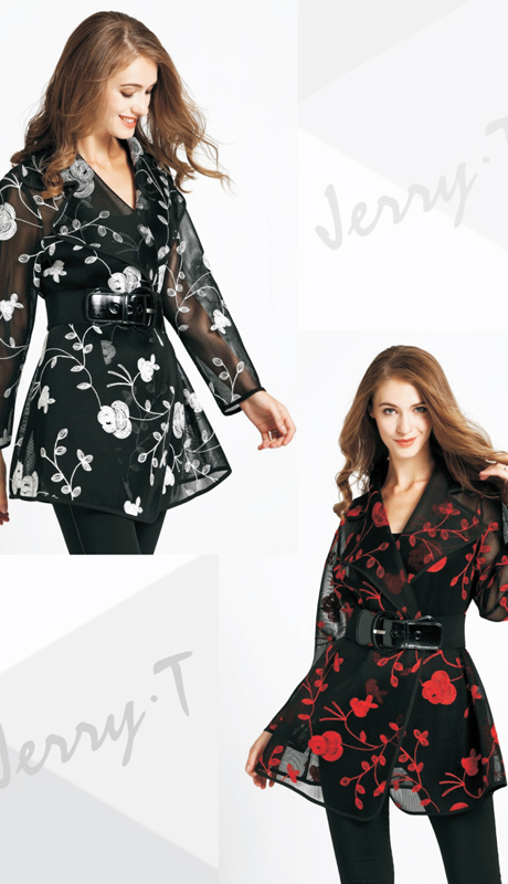 Jerry T SR 7179 ( 1pc Ladies Blouse With Contrasting Floral Pattern )