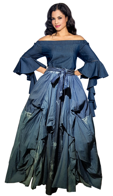 Giovanna 1014 ( 1pc High Fashion Ruffled Denim Skirt )