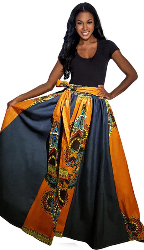 Giovanna 1016 ( 1pc High Fashion Two Tone Denim Skirt )