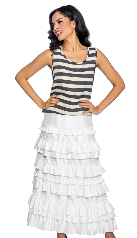 Giovanna 1011W ( 1pc Womens Skirt With Ruffle Layered Design, Elastic Waist )
