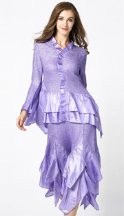 Jerry T 7151-LA ( 2pc Ladies Top And Skirt With Tiered Ruffles )
