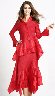 Jerry T 7151-RE ( 2pc Ladies Top And Skirt With Tiered Ruffles )