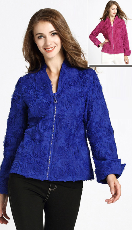 Jerry T 7170-BLU ( 1pc Ladies Jacket With Zipper And Petal Applique )