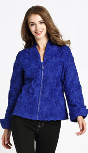 Jerry T 7170-BLU ( 1pc Ladies Jacket With Zipper And Petal Applique )