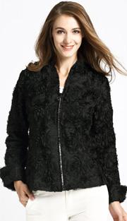 Jerry T 7170-BLK ( 1pc Ladies Jacket With Zipper And Petal Applique )