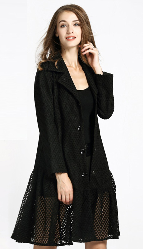 Jerry T 7172-BLK ( 1pc Ladies Long Jacket )